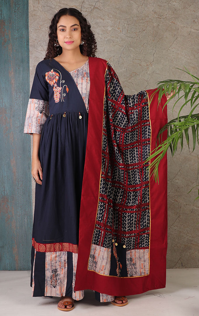 Peacock Embroidery Dress With Dupatta