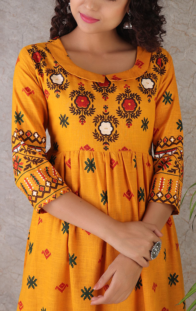 Mustard Printed Dress with Peter Pan Collar