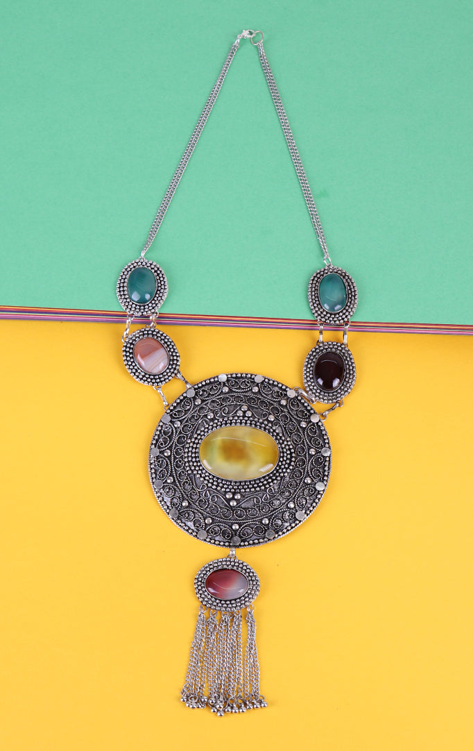 German Silver Pendant Style Necklace in Multi color
