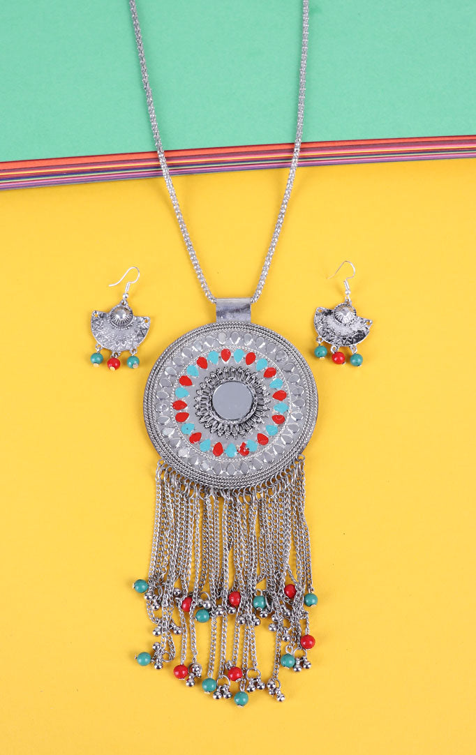 Statement Multi color Pendant Set
