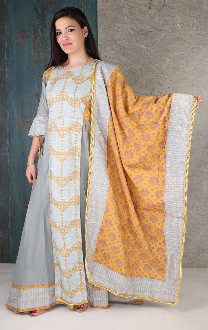 Steel Grey Layered Dress With Dupatta