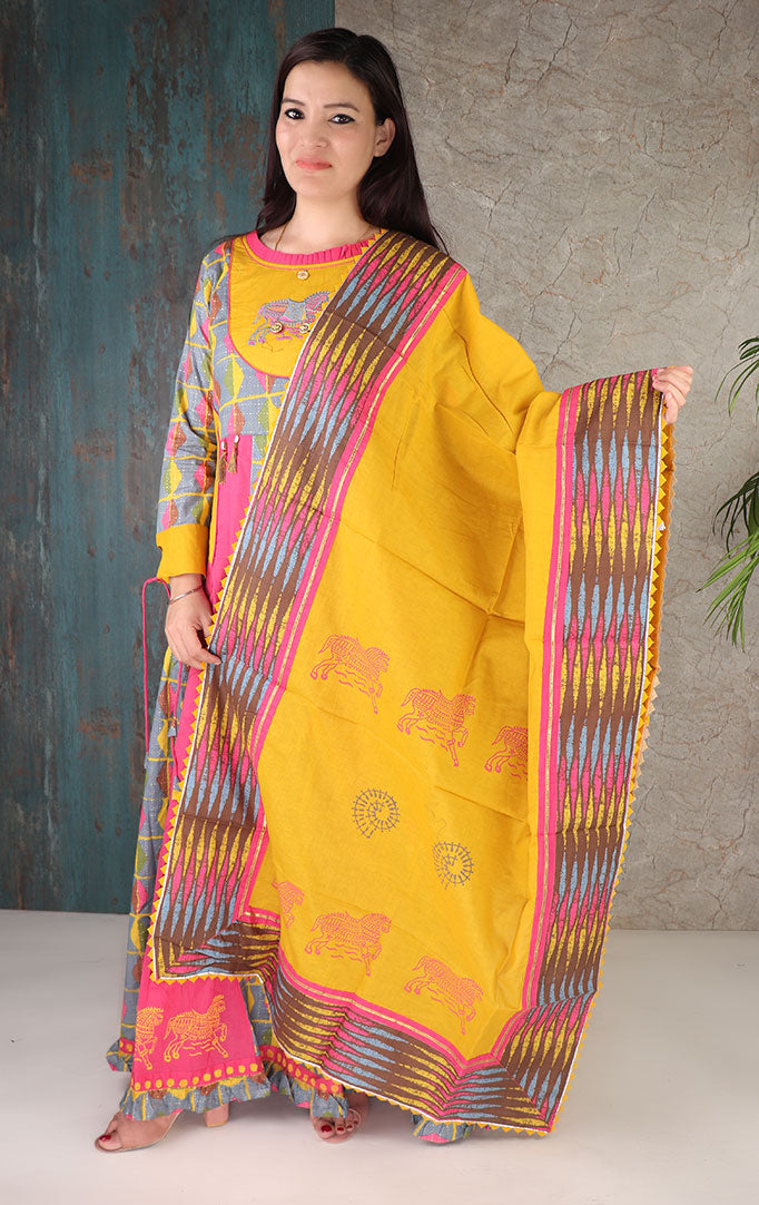 Classic Horse Embroidery on Yellow And Pink Dress with Dupatta