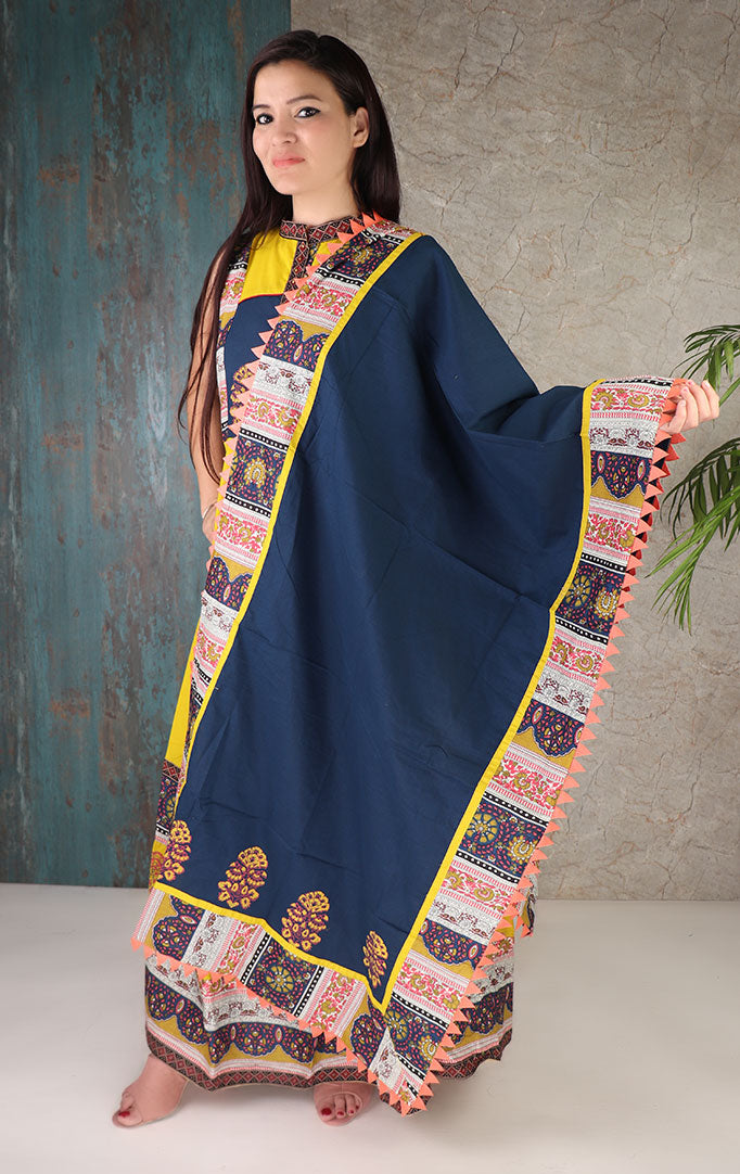 Yellow Printed Dress With Dupatta