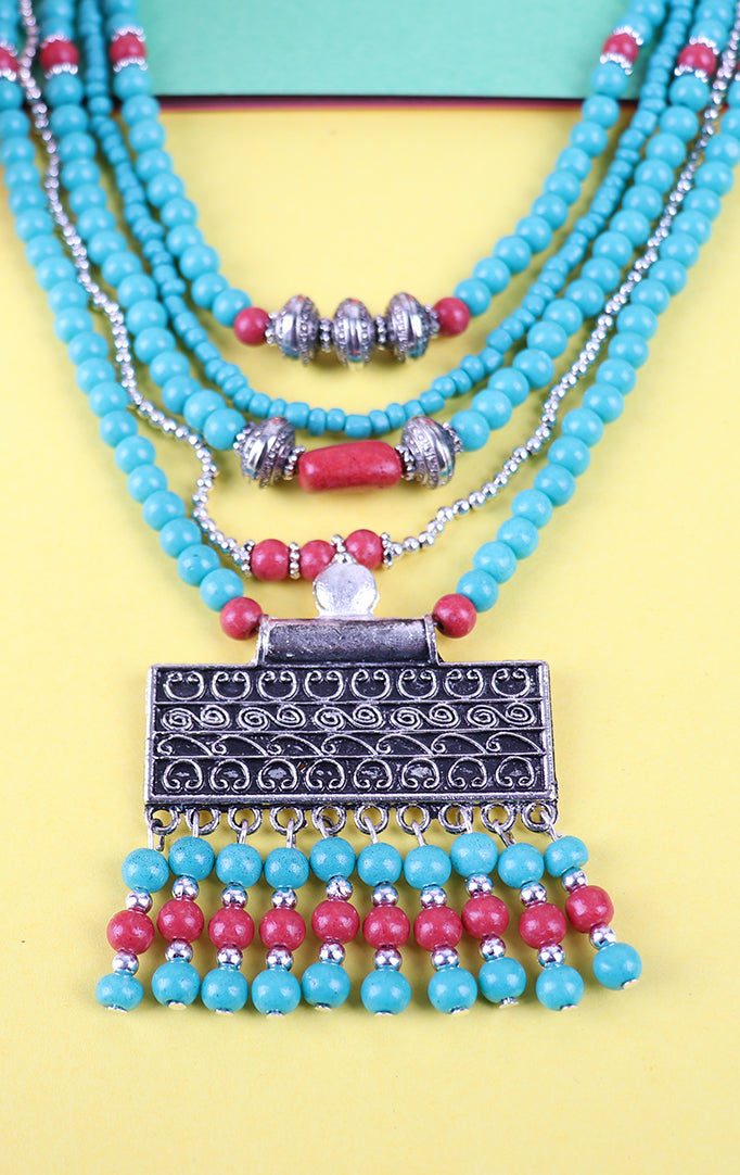 Triple Layered Blue Beaded Necklace Set