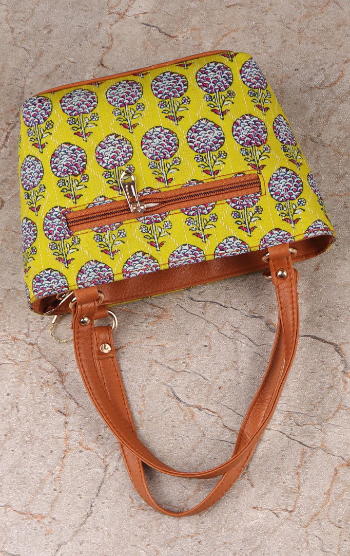 Pretty Floral Block Print Handbag