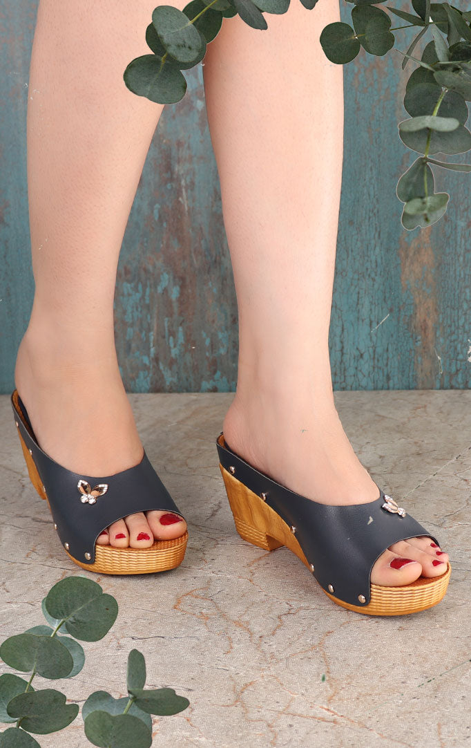 Blue Wedges with Crystal Motif