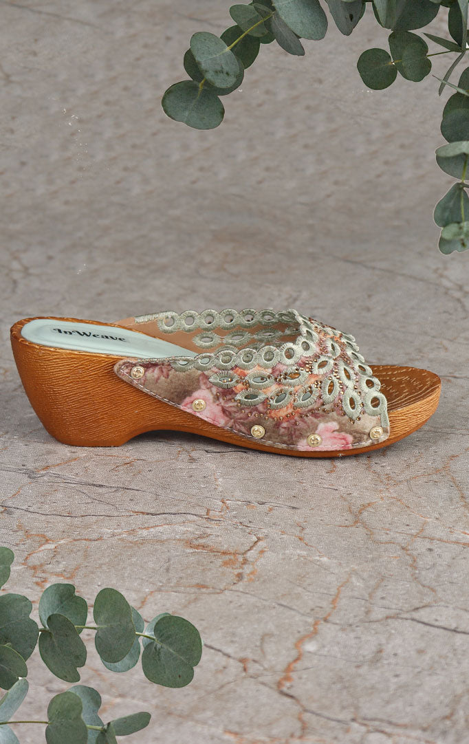 Mint-blue & Copper Embroidered Sandals