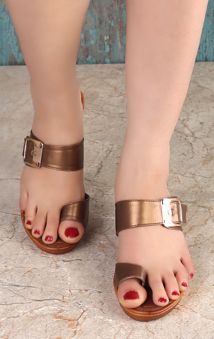 Copper-colored Strappy Wedges
