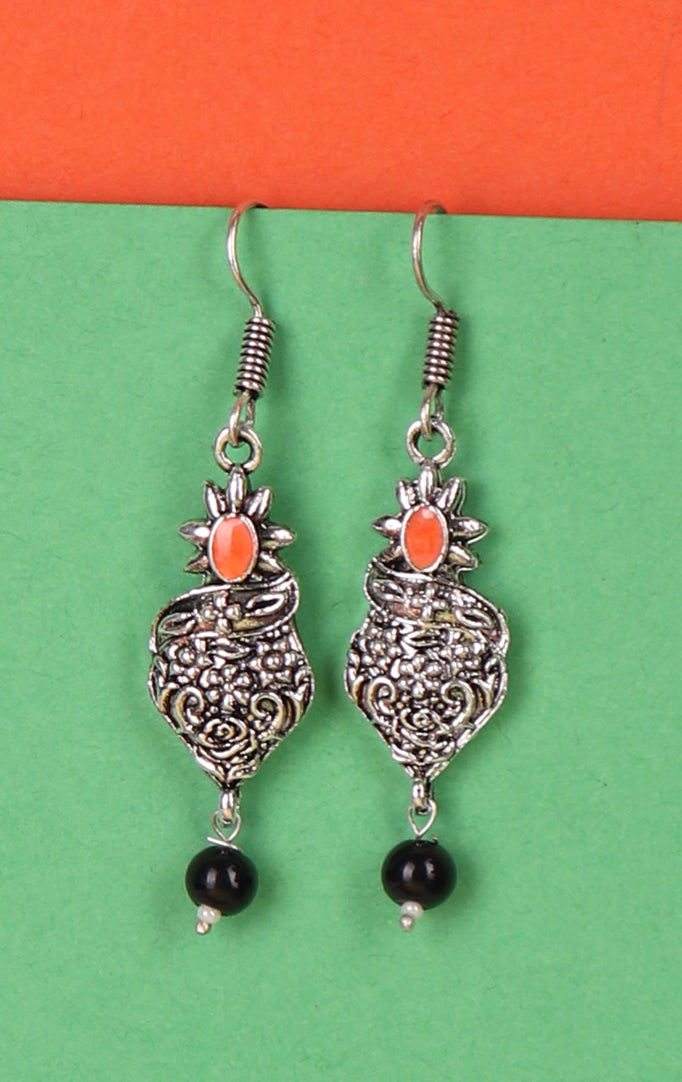 Oxidized Drop-Shaped Earrings