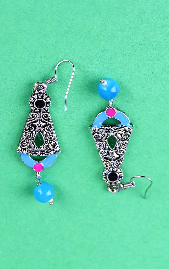 Blue-Silver Oxidized Earrings