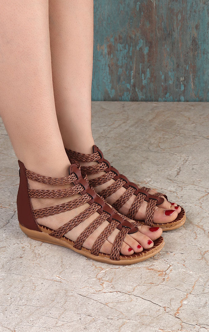 Strappy Gladiator Sandals in Light Brown