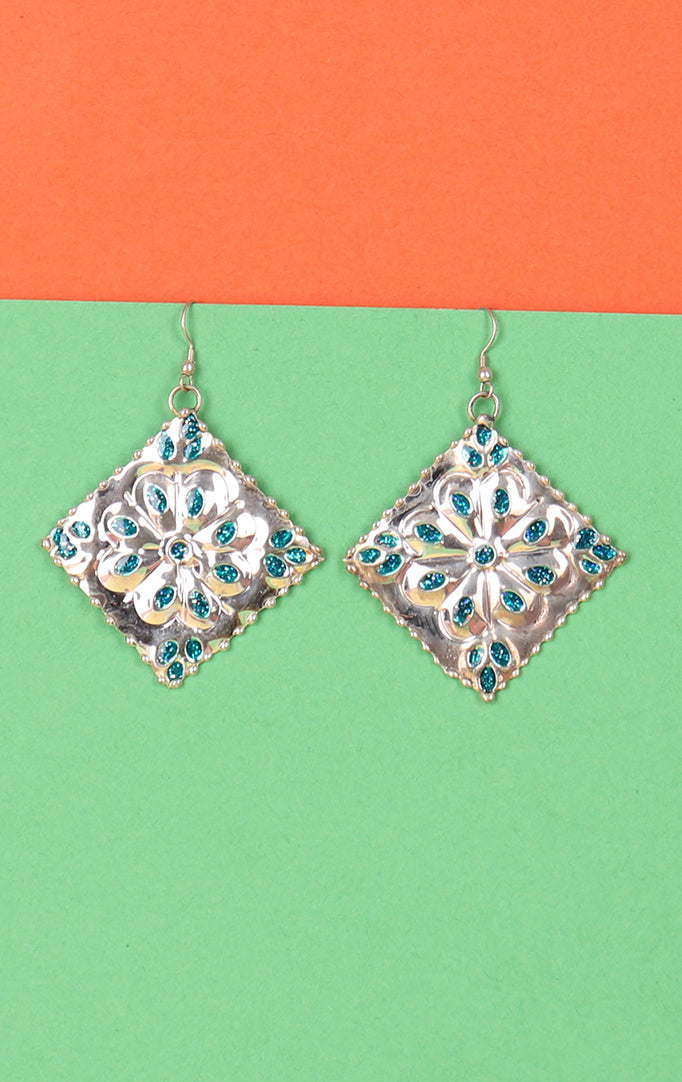 Metal Magic Earrings in Blue