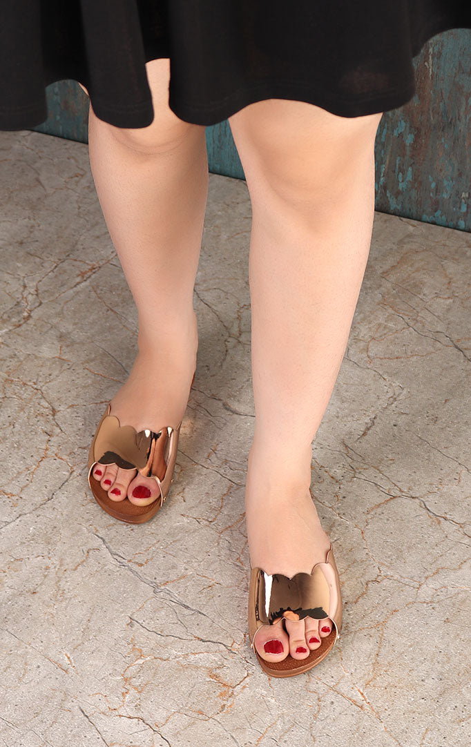 Rose-gold Metallic Sandals