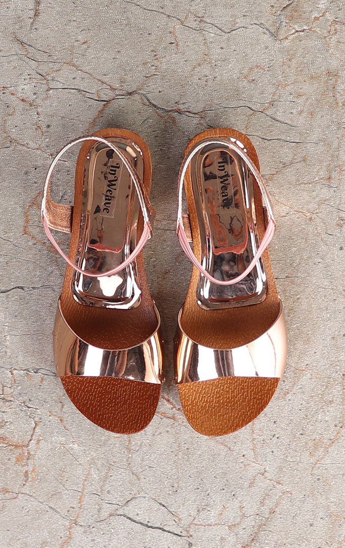 Golden Strappy Wedge Sandals