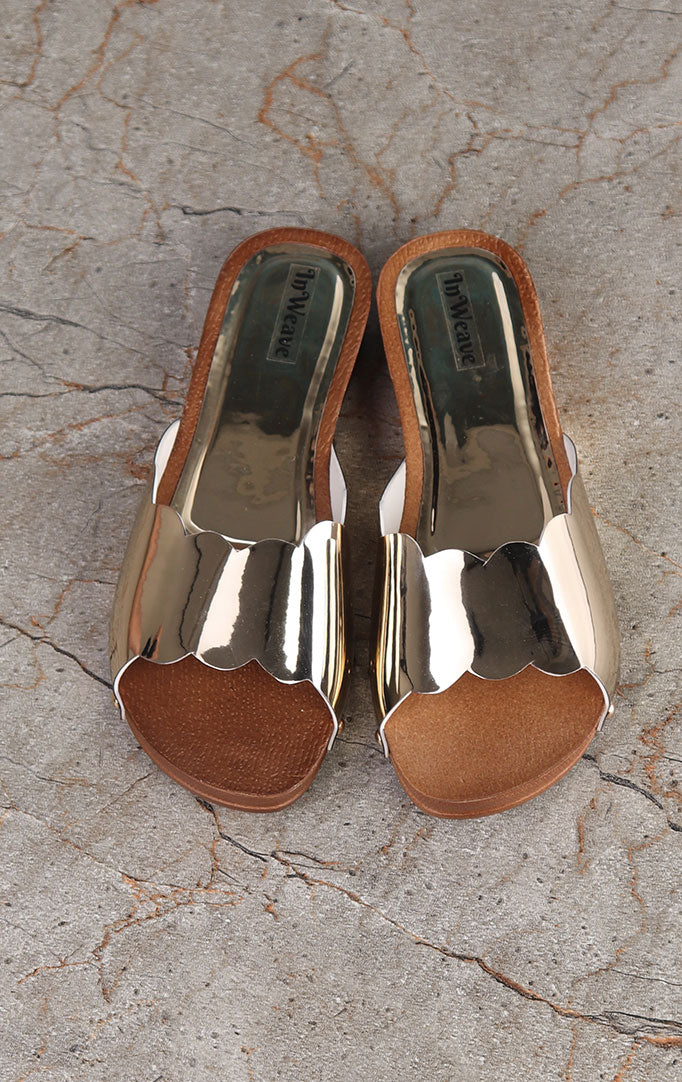 Dull-Gold Slip-on Flats