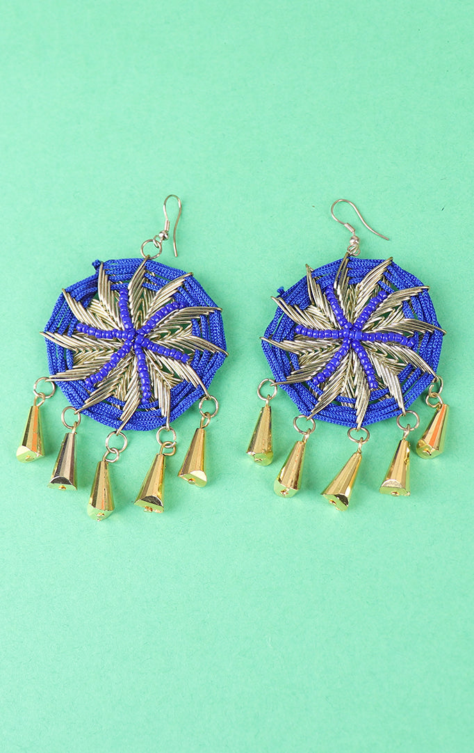 Circular Motif Blue-Gold Earrings