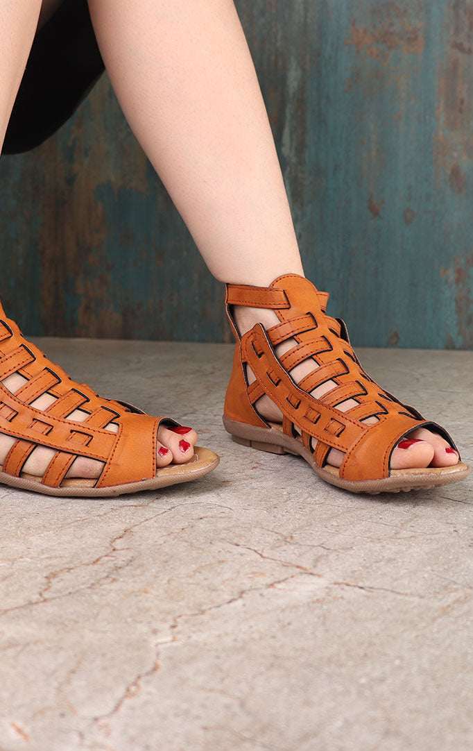 Tan-brown Strappy Gladiator Flats