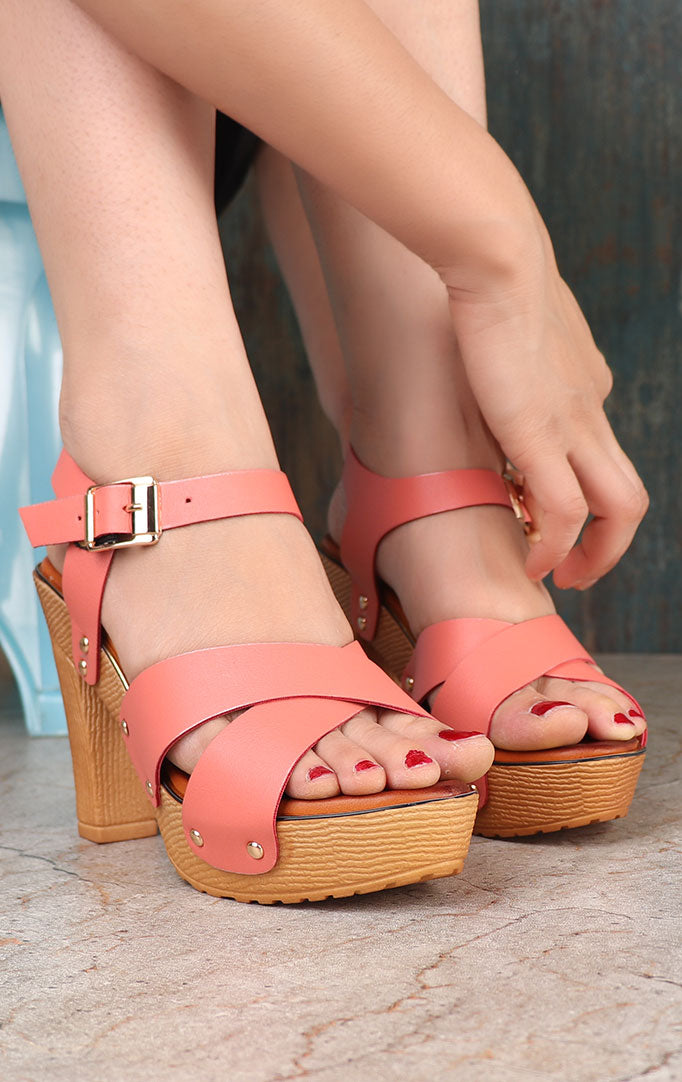 Pink High Heels With Criss-cross Straps
