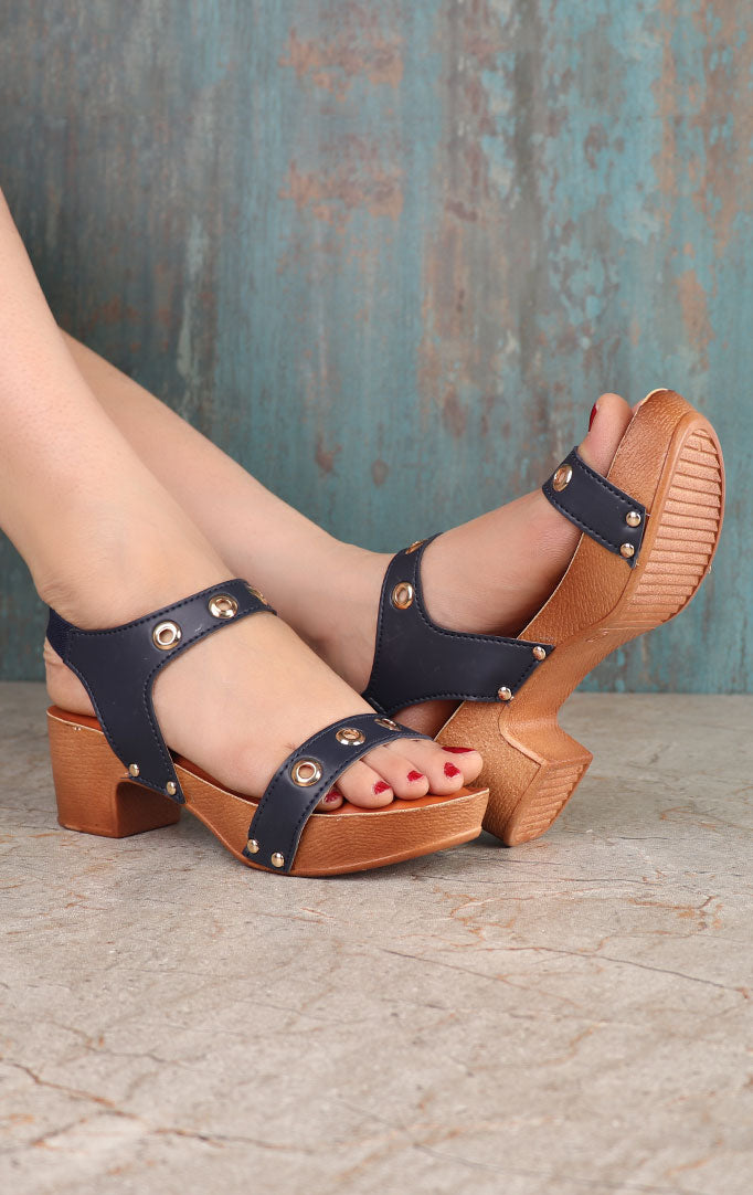 Blue Strappy Block Sandals