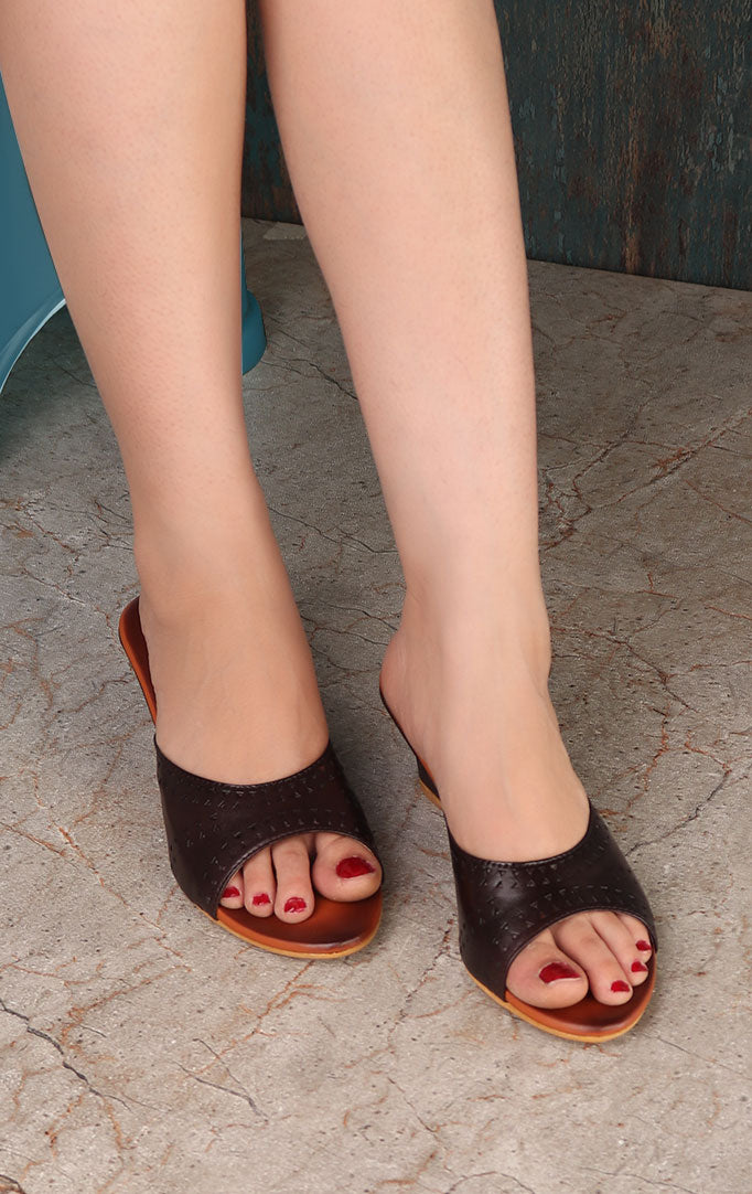 Black Cut-work Narrow Wedge Heels