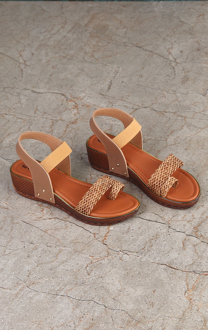 Beige Sandals with Weaved Straps