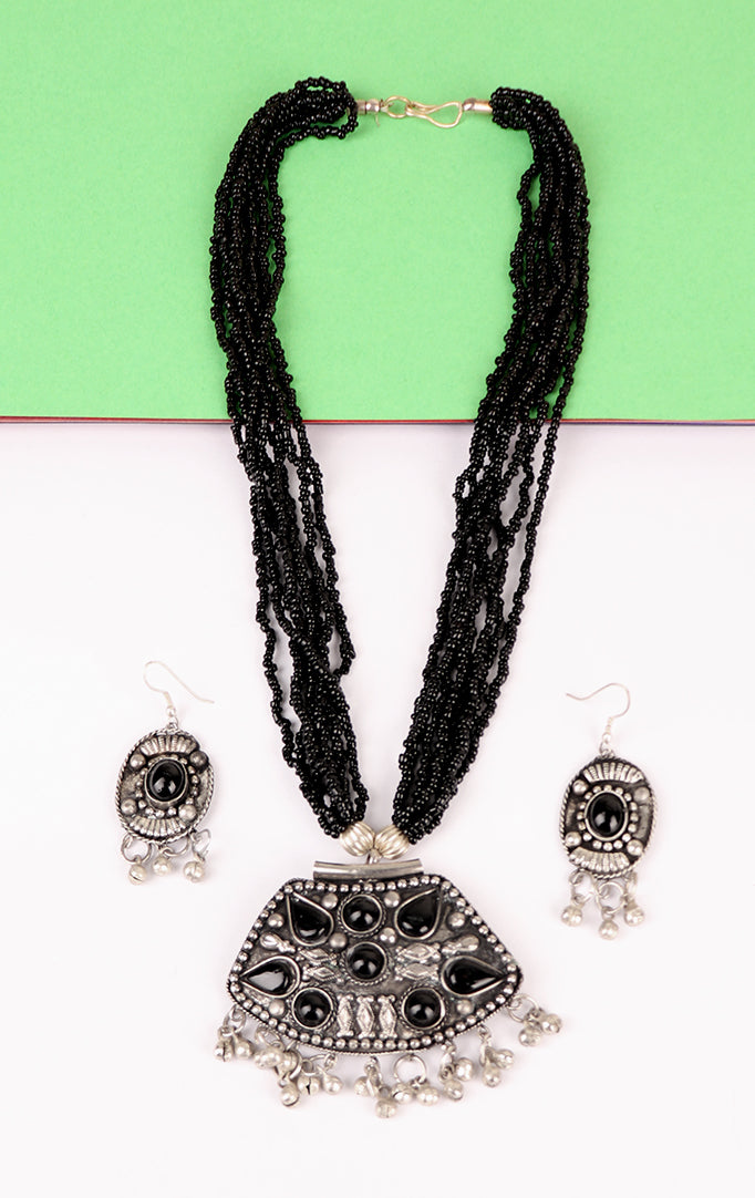 Black-silver Statement Necklace Set