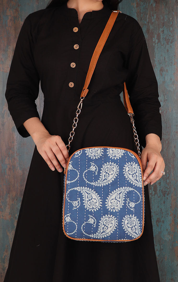 White PAISLEY PRINT On Blue Sling Bag