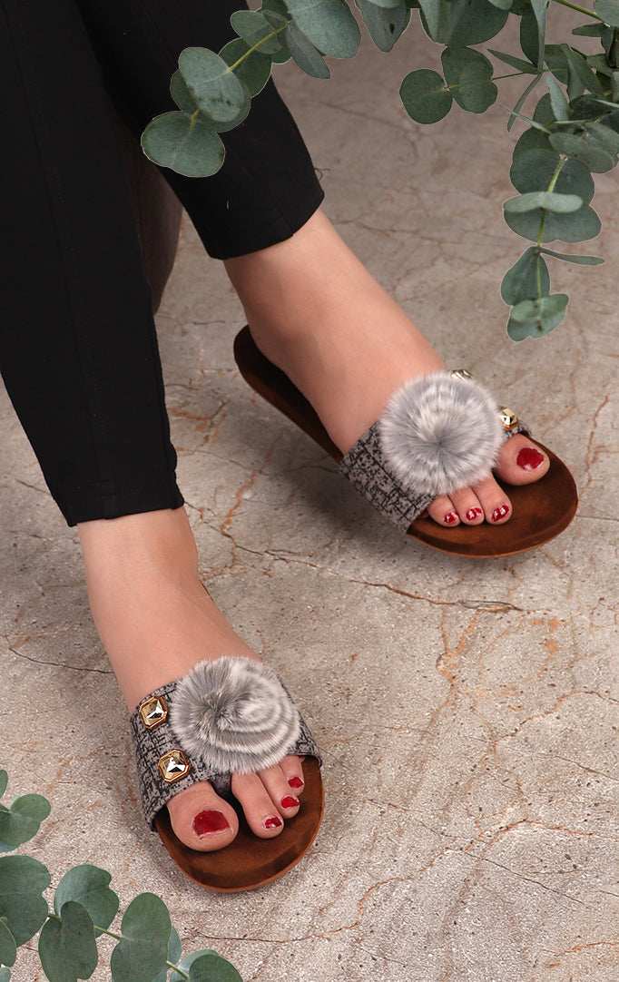 A Furry Friend Flat Sandals In  Grey