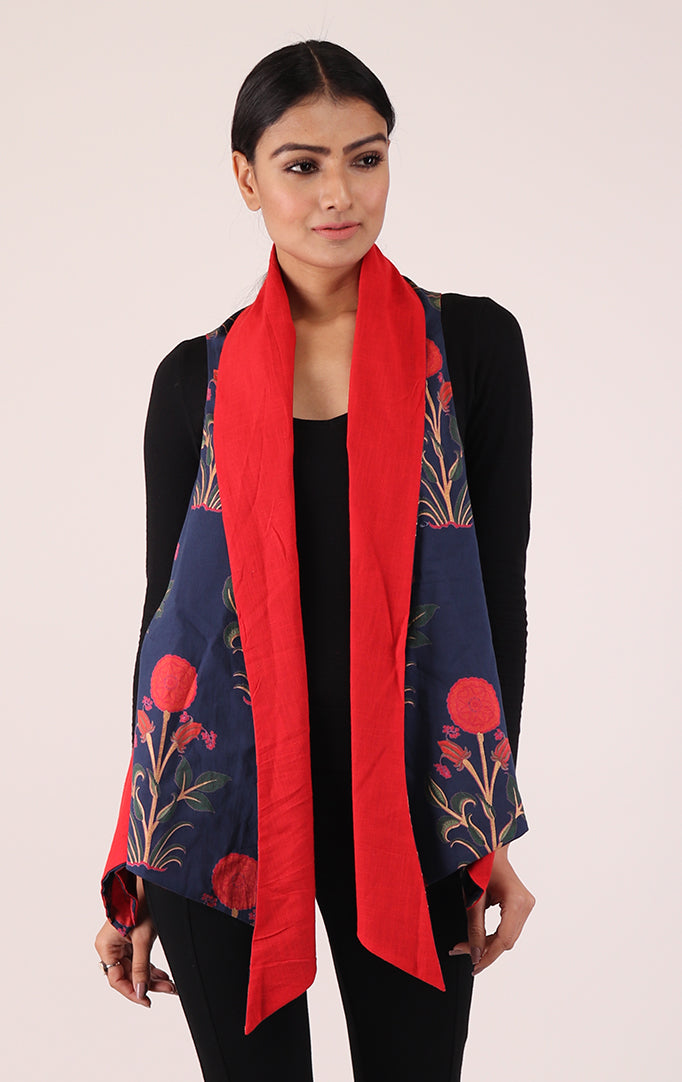 Asymmetrical Reversible Shrug in Navy Blue & Red