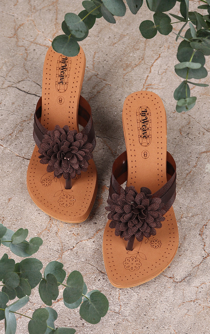 Brown Bold Flower Wedges