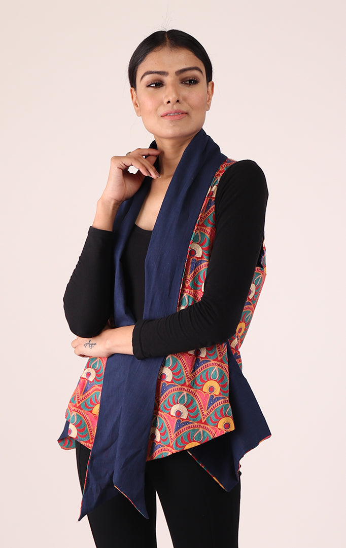 Asymmetrical Reversible Shrug in Blue & Red