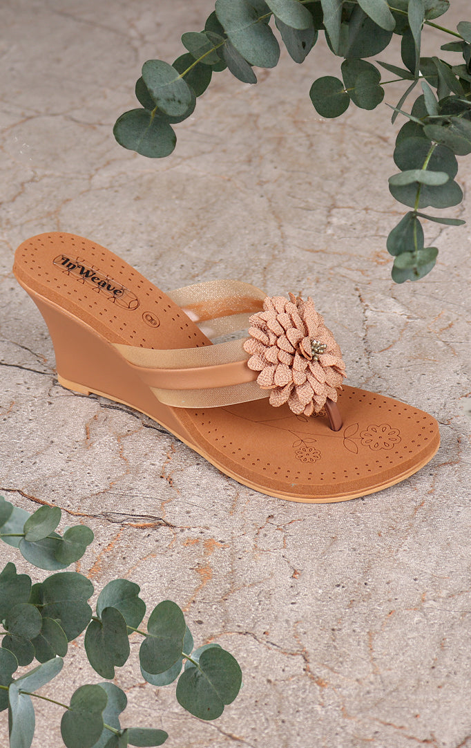 Golden Bold Flower Wedges