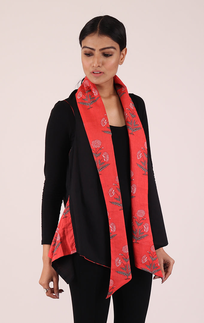 Block-printed Shrug in Blue & Red