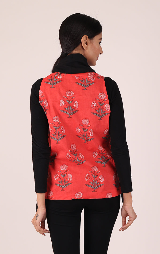 Block-printed Reversible Shrug in Peach