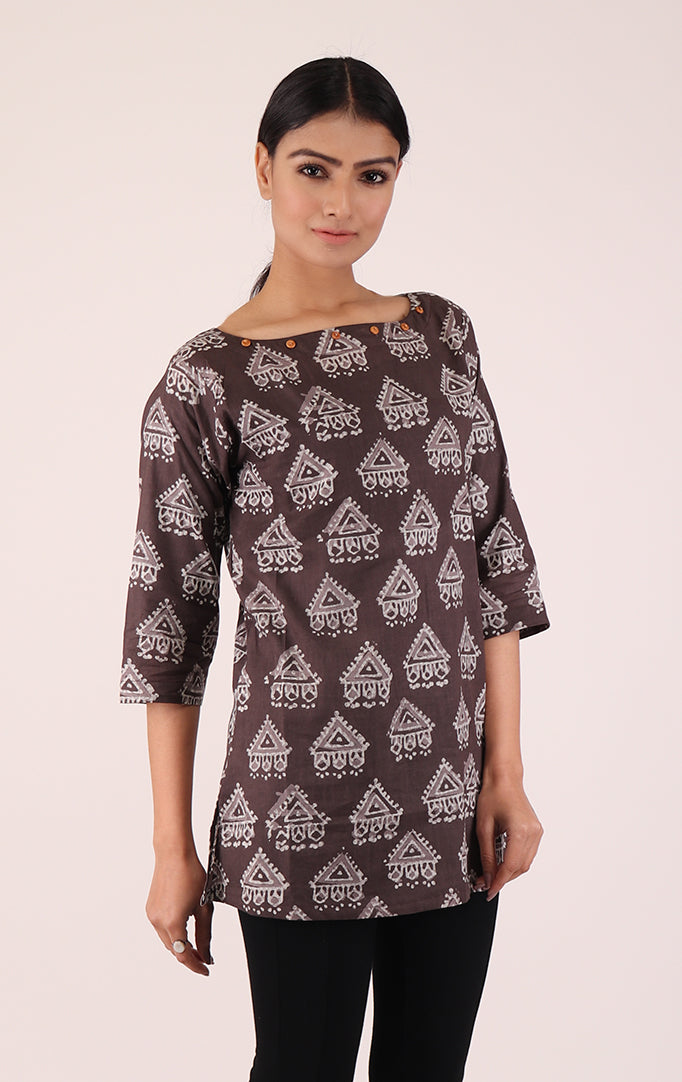 Greyish-brown Top with Block Print