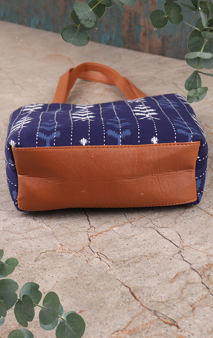 Ikkat Print On Navy Fabric Tote Bag