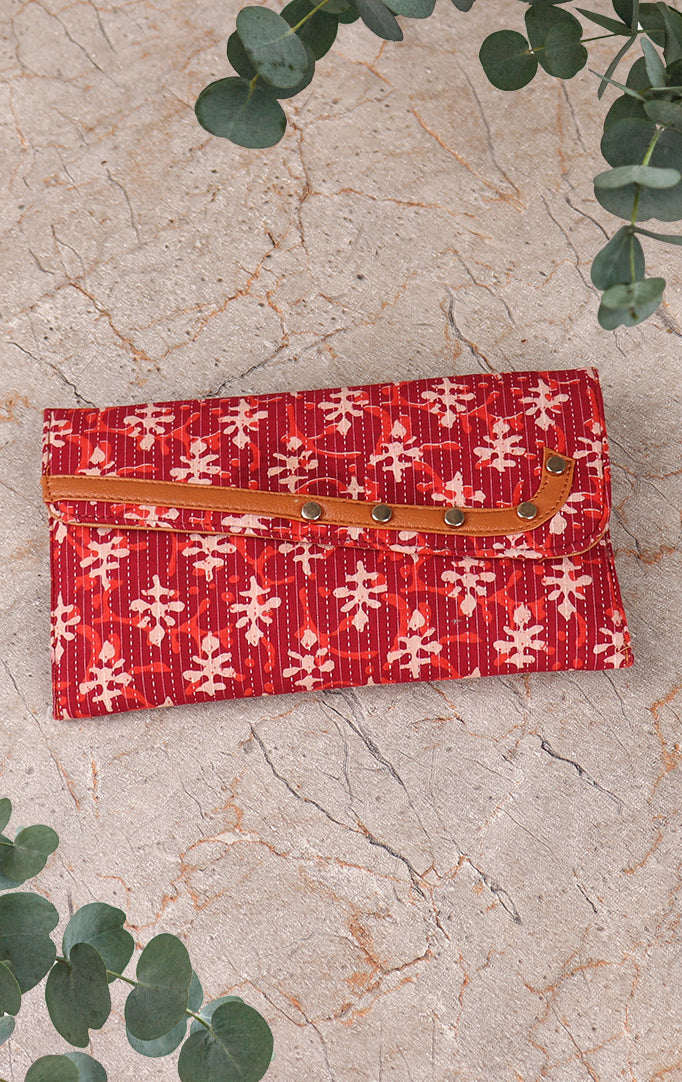 Block Print Clutch+Sling Bag In Mixed Hue Of Red & Orange