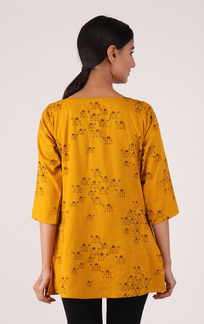 Yellow Camel Printed Top