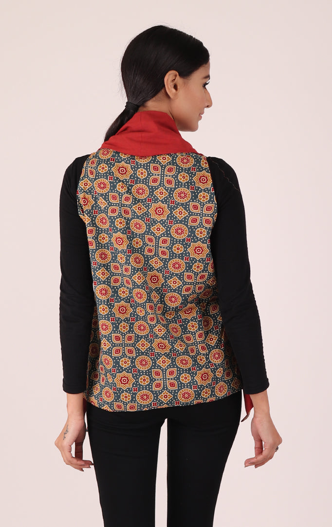 Block-printed Reversible Shrug in Blue & Red