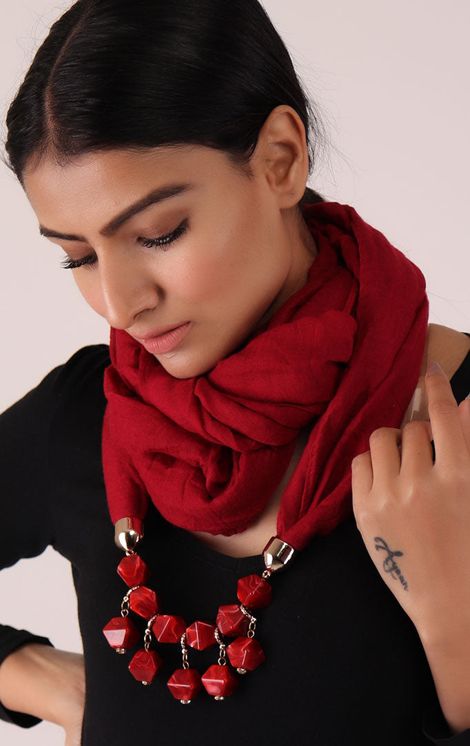 Red Infinity Scarf with Large Beads