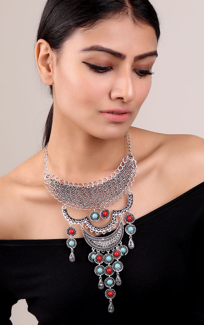 Layered Oxidized Necklace with Red-Blue Stones