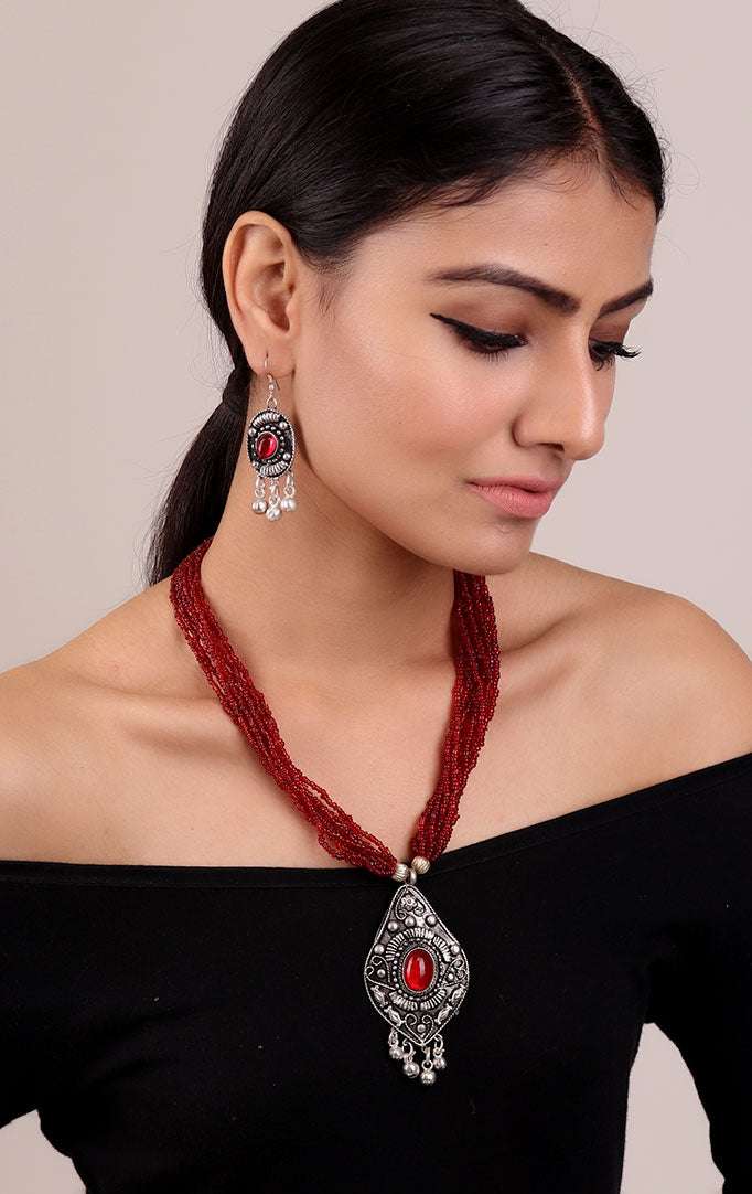 Red-Oxidised Silver Statement Necklace Set