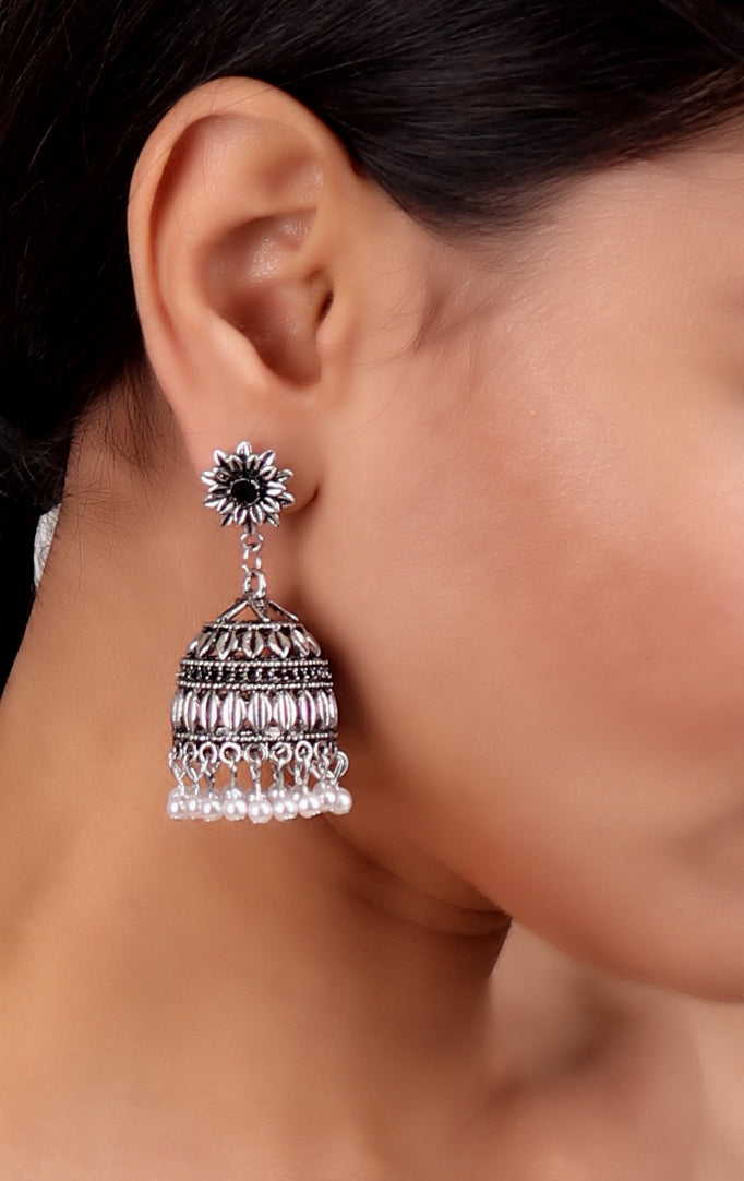 Silver Jhumki with White Beads
