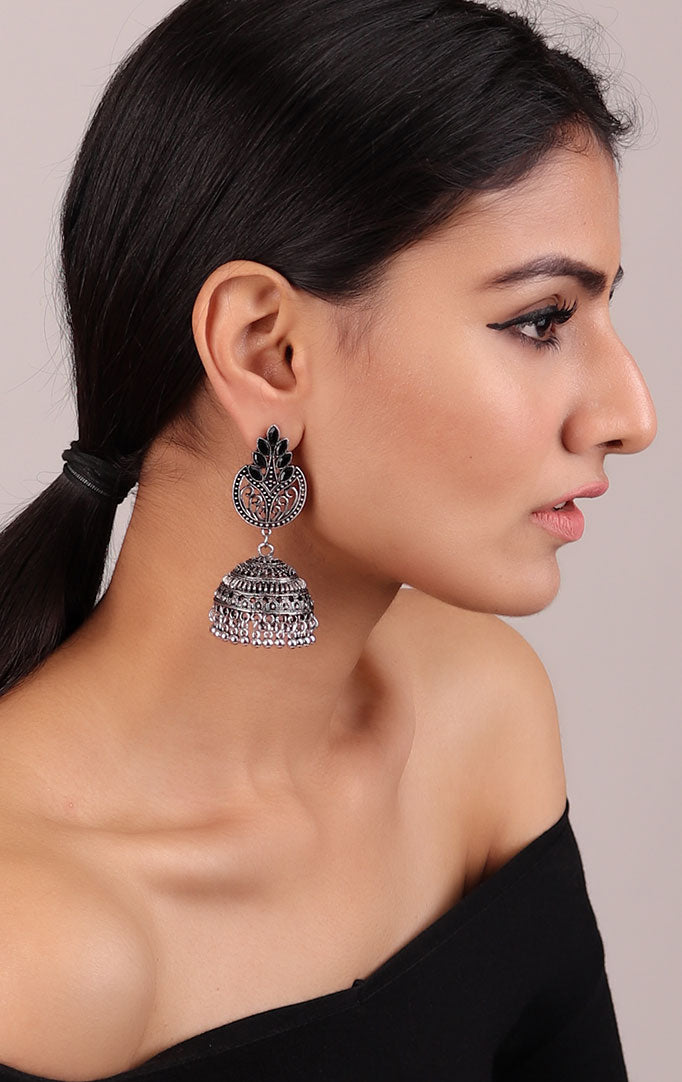 Statement Jhumkis in Oxidized Silver