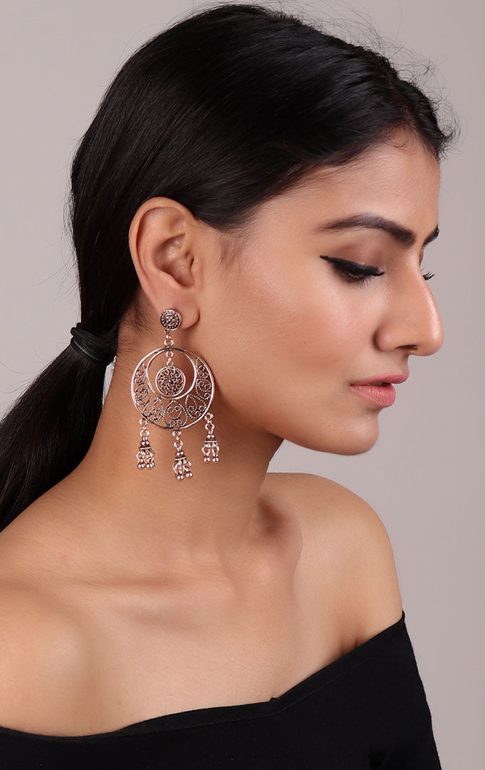 Silver Oxidized Chaandbali Earrings