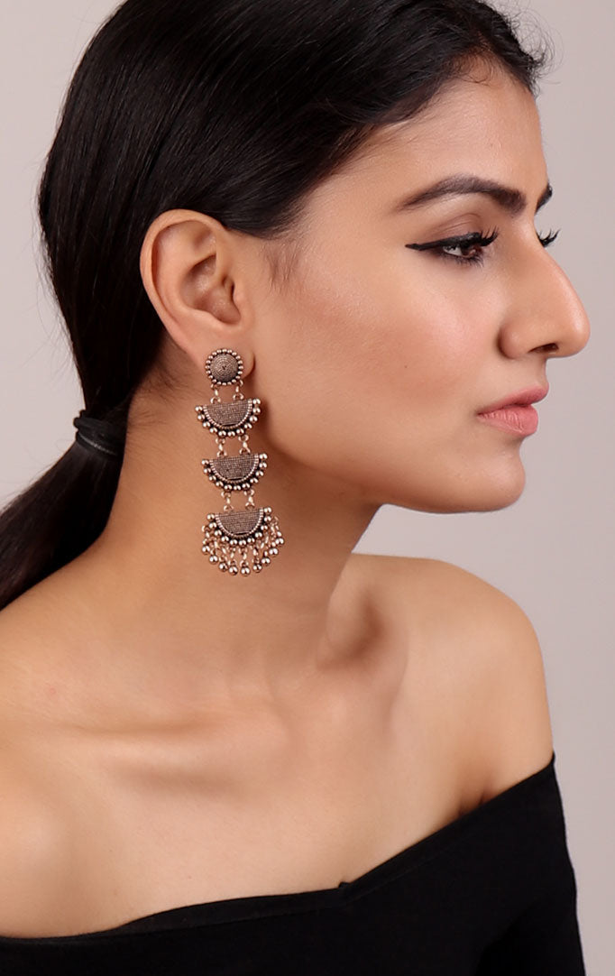 Long Layered Oxidised Golden Earrings