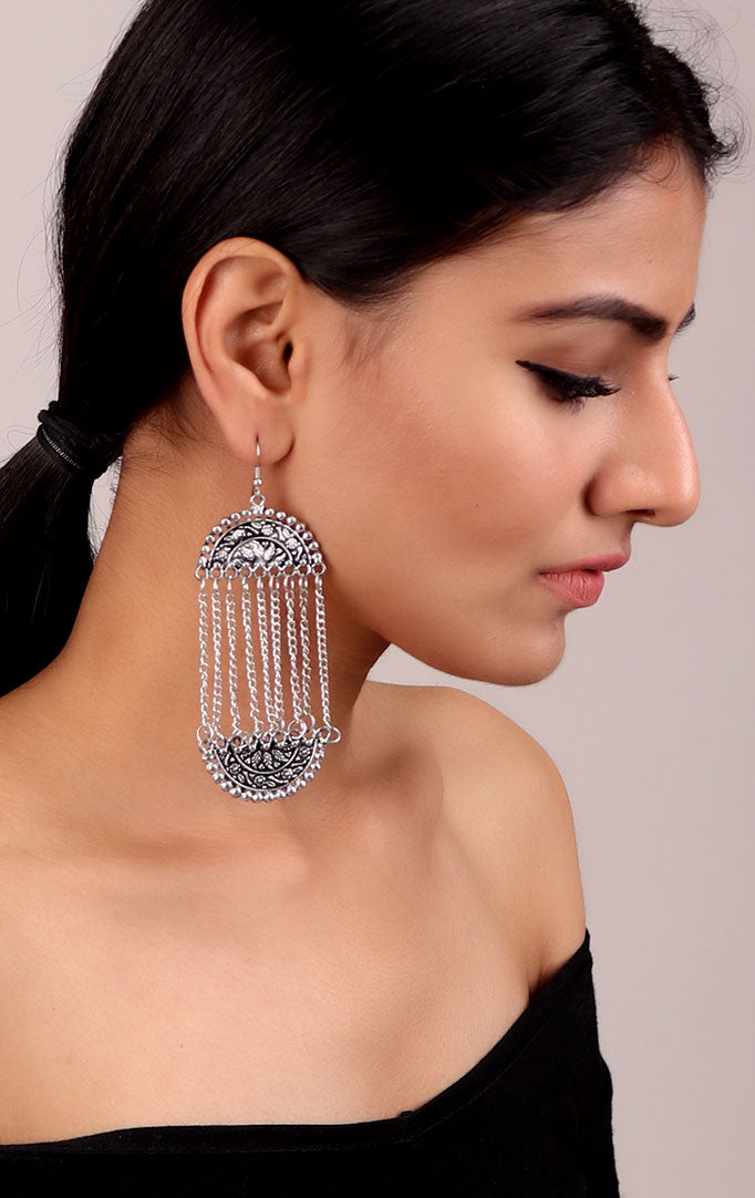 Long Chain Mughal-inspired Earrings
