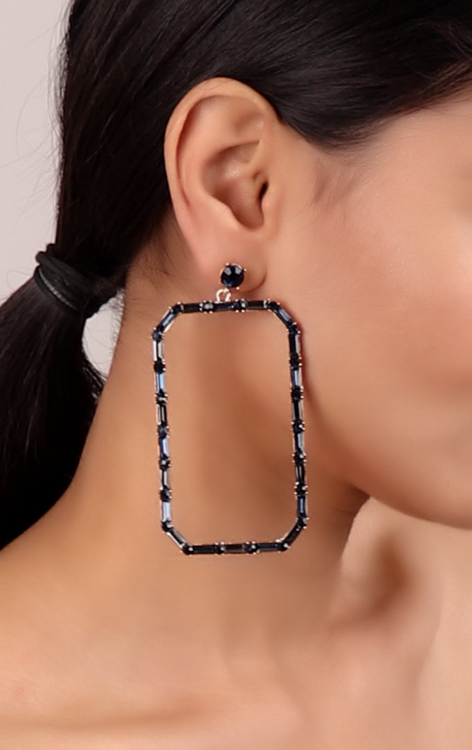 Large Square Metallic Grey Earrings