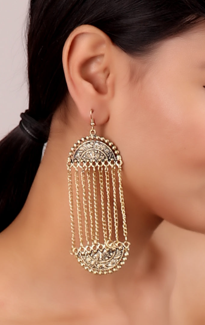 Golden Long chain Mughal Earrings