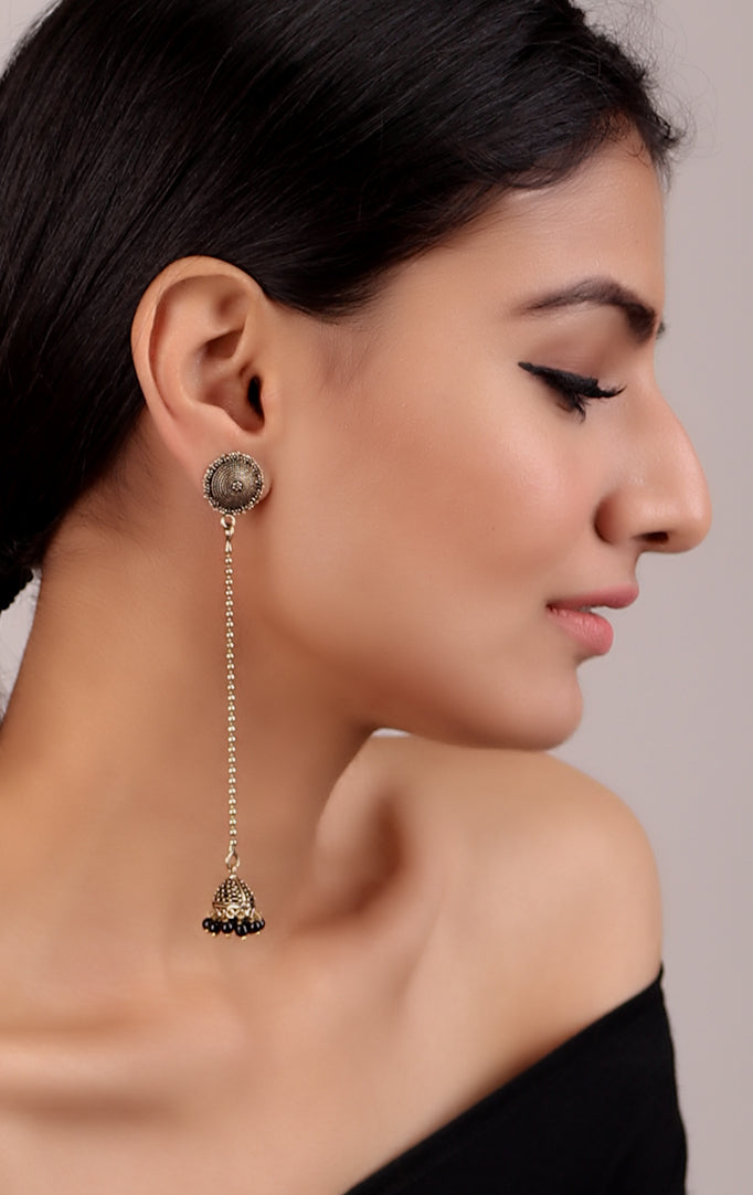 Delicate Long Jhumki in Golden-Black